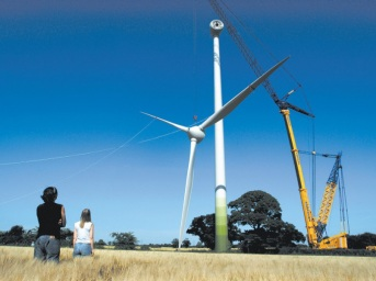 Construction of the Ecotricity wind turbine at Swaffham.