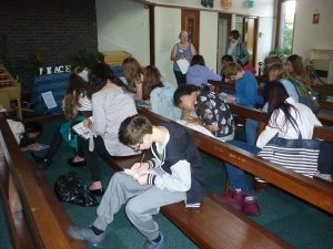 Confirmation candidates in St Columba's writing messages of hope