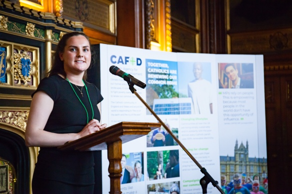 Campaigner Anna Fraine addresses MPs in parliament at CAFOD's annual reception