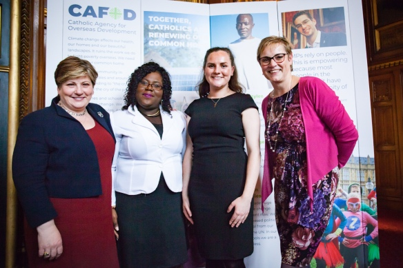 The four speakers from CAFOD's parliamentary reception, including Emily Thornberry MP, CAFOD's director Christine Allen and Wirral campaigner Anna Fraine